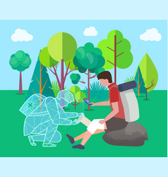 help online medical care for hiker injured knee vector image