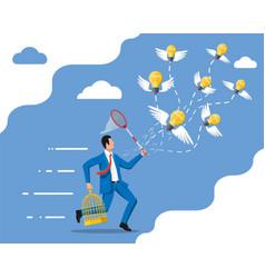 Idea bulbs and businessman with net vector