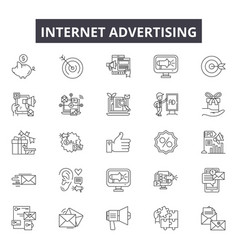 internet advertising line icons signs set vector image