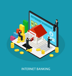 Isometric internet banking service concept vector