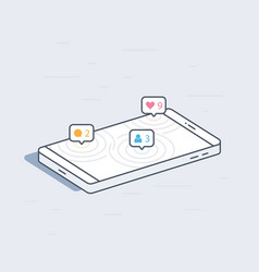 Isometric mobile phone with social network vector