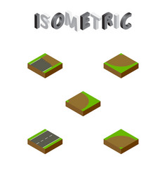 Isometric road set of sand driveway turn vector