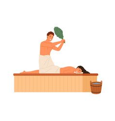 male steaming female holding bath broom vector image