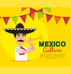 mariachi man with trumpet and party banner vector image