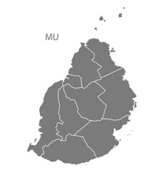 mauritius districts map grey vector image