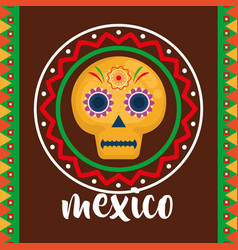 mexican mask celebration icon vector image