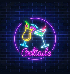 Neon cocktails bar sign in circle frame with vector