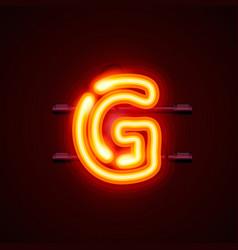 Neon font letter g art design singboard vector
