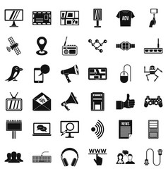network icons set simple style vector image