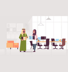 Overworked arab businesspeople man woman holding vector