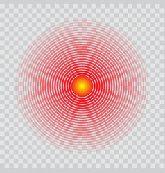 Pain circle red radial target icon vector