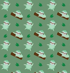 pattern with cute cartoon sloth vector image