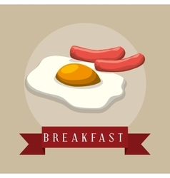 poster breakfast fried eyes sausages ribbon vector image