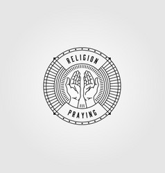Praying hands line art logo vintage design vector