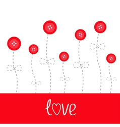 Red button flowers dash line stem with bow love vector