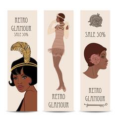 Retro fashion glamour girl twenties african vector