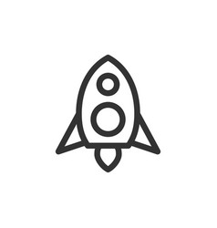 rocket front view outline style icon vector image