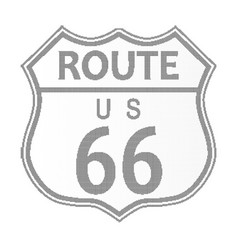 Route 66 highway sign halftone vector