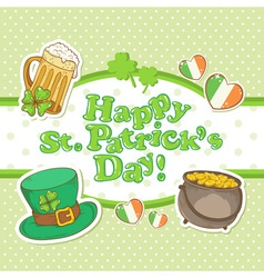Saint Patricks Day elements invitation postcard vector image