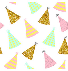 Seamless pattern caps for a birthday on a white vector