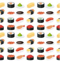 seamless pattern sushi set vector image