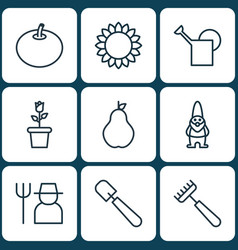 Set of 9 plant icons includes rake shovel dwarf vector