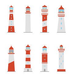 set of color icons of lighthouses vector image