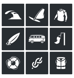 Set of Surfing and Windsurfing Icons Wave vector image