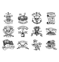 set pirate labels corsairs skull at anchor vector image