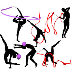 Set silhouettes girl gymnast athlete isolated o vector