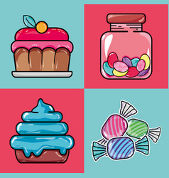 Set sweet confetionery with delicious texture vector