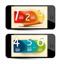 six step infographic layout on mobile phone vector image