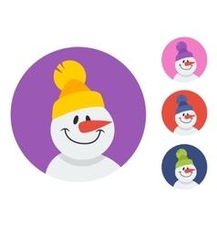 Snowman flat icon set vector