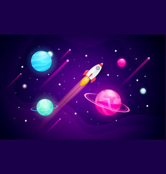 space exploring background with planets and rocket vector image