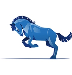 Square blue horse vector image