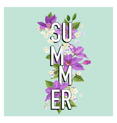 summer floral poster tropical clematis flowers vector image