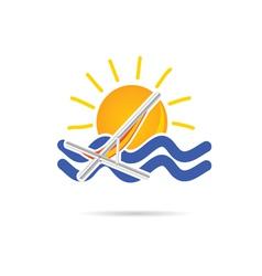 Sun icon with beach chair color vector