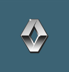the close up of silver 3d renault logo on vector image