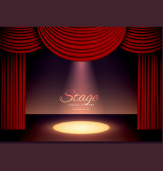 Theater scence with red curtains and falling spot vector