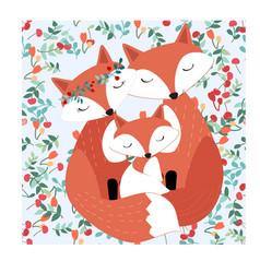 vintage seamless adorable cute fox family in vector image