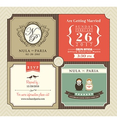 vintage style wedding invitation card template vector image
