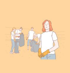 volunteering eco environment pollution concept vector image