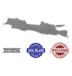 Welcome collage of halftone map of java island and vector