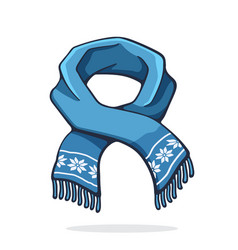 Wool winter scarf with snowflake pattern vector