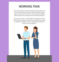 Working task frame banner vector