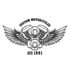 custom motorcycle workshop emblem vector image