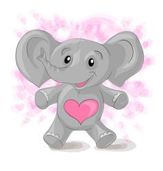 cute cartoon elephant with hearts vector image
