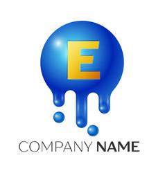 e letter splash logo blue dots and bubbles letter vector image vector image