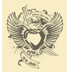 grunge t-shirt design with heart vector image vector image