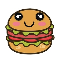 kawaii cartoon burger fast food vector image